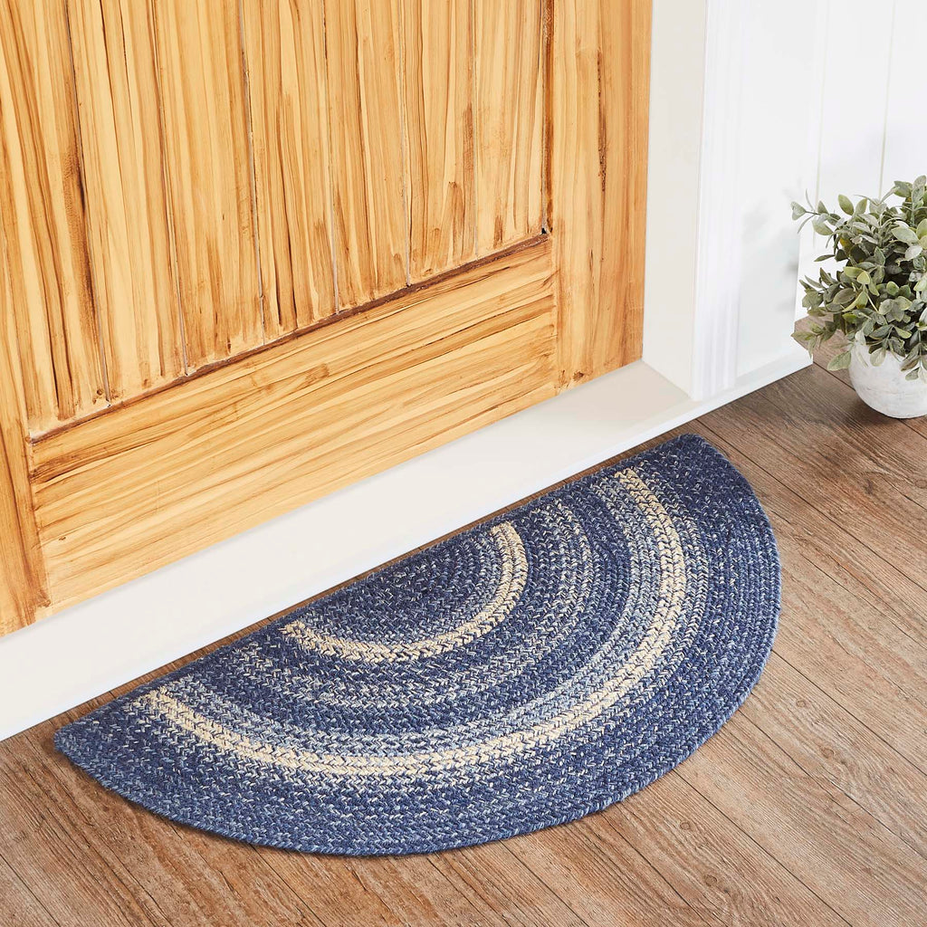 Great Falls Blue Jute Rug Half Circle w/ Pad 16.5x33