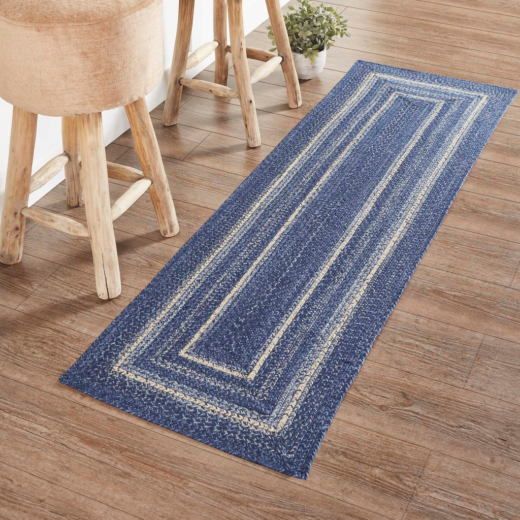 Great Falls Blue Jute Rug/Runner Rect w/ Pad 22x72