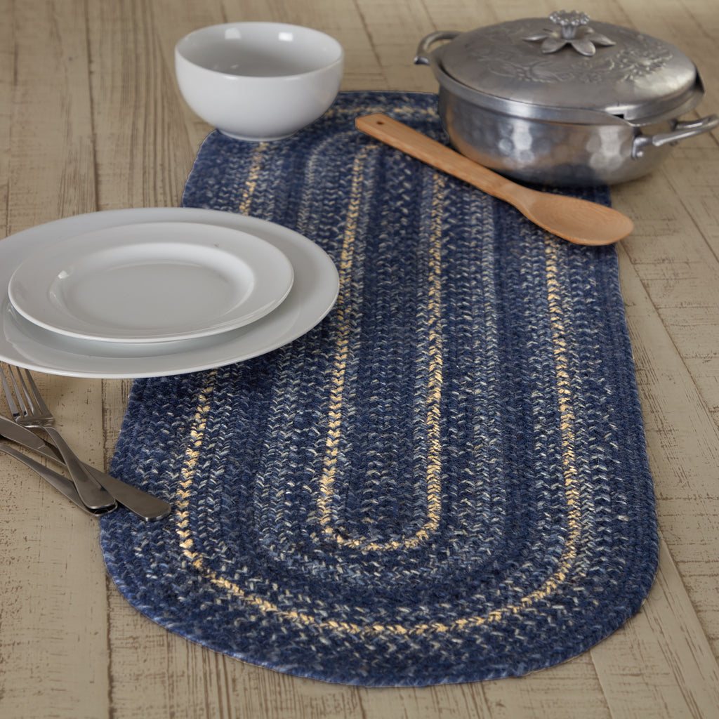 Great Falls Blue Jute Oval Runner 13x36