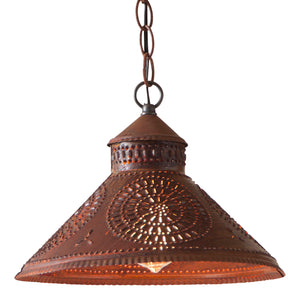 Stockbridge Shade Light with Chisel in Rustic Tin