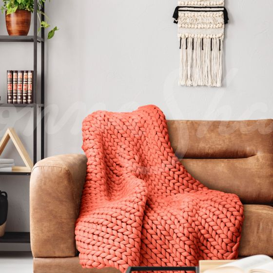 Chunky Knit Throw ~ Coral