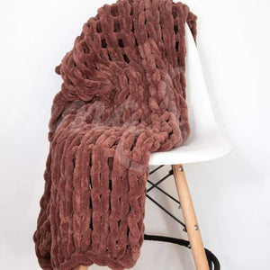 Chenille Chunky Knit Throw ~ Rust