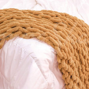 Chenille Chunky Knit Throw ~ Gold