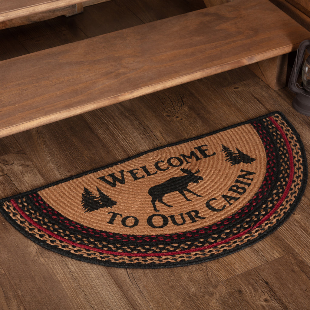 Cumberland Stenciled Moose Jute Rug Half Circle Welcome to the Cabin w/ Pad 16.5x33
