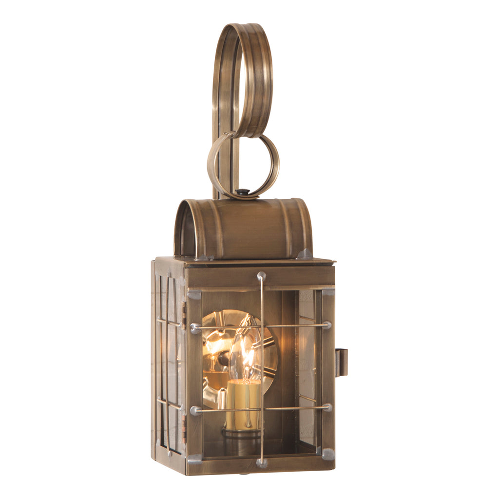 Single Wall Lantern in Weathered Brass