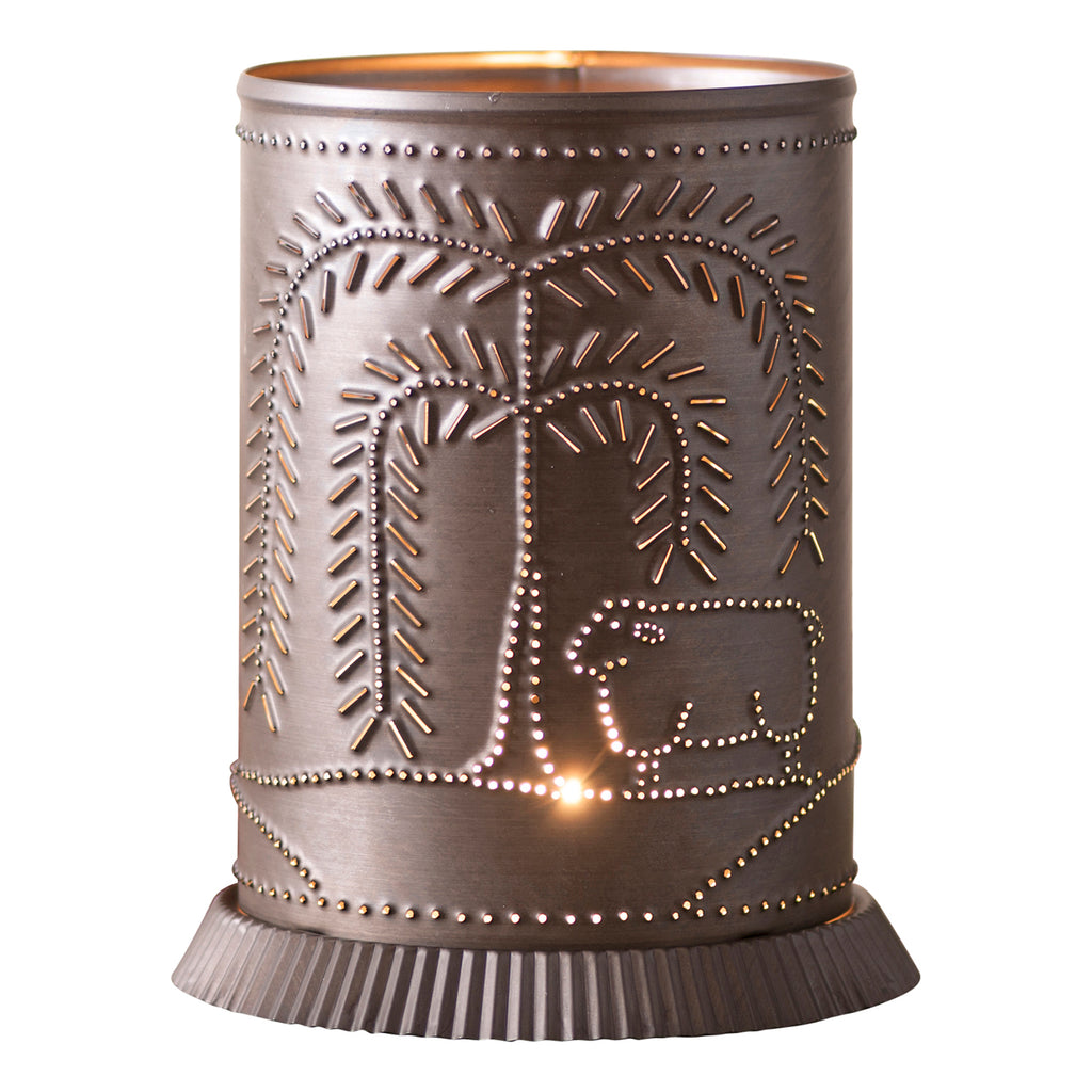 Candle Warmer with Willow and Sheep in Kettle Black