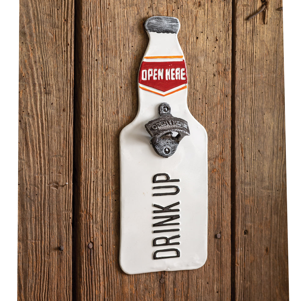 Drink Up Metal Wall Sign with Bottle Opener