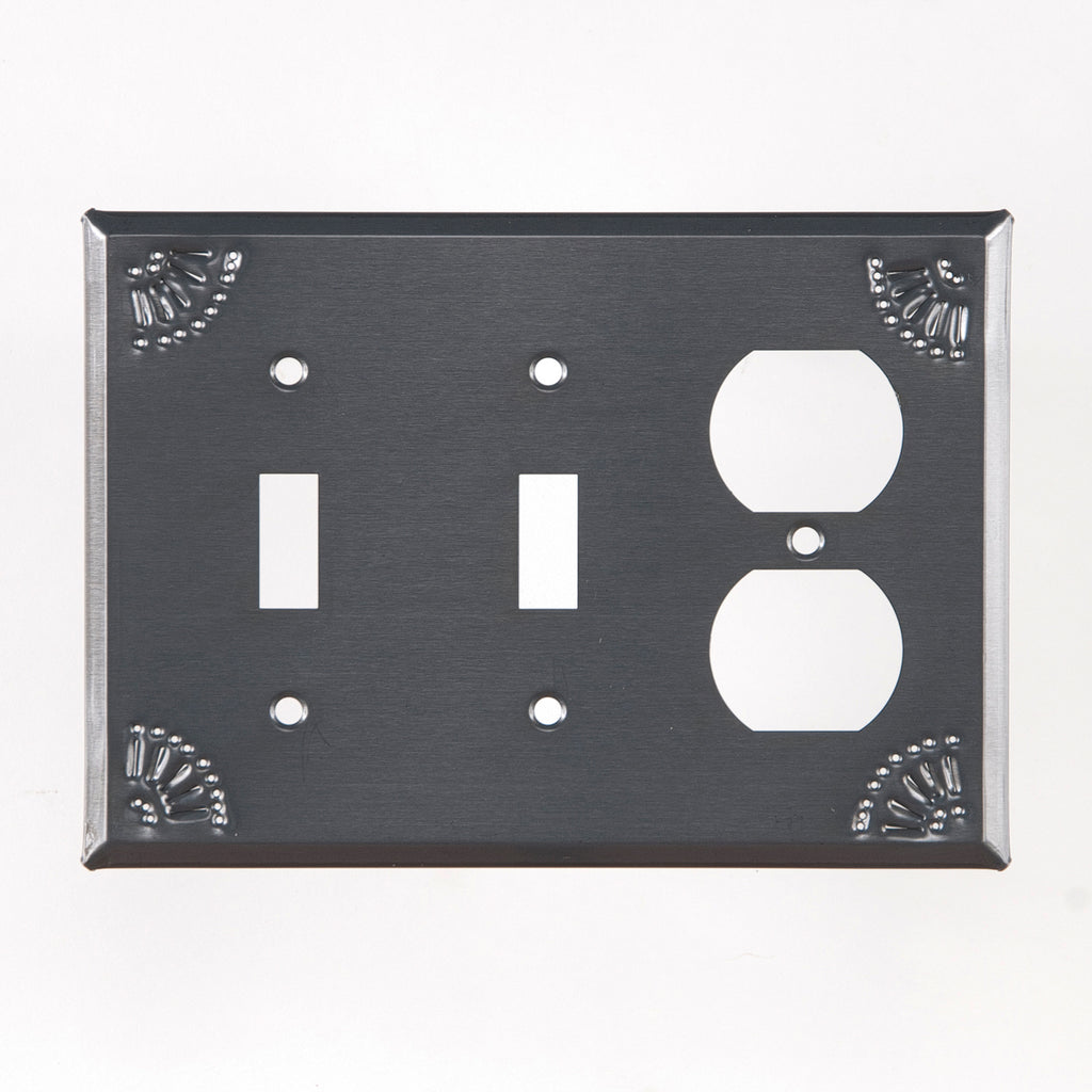 Double Switch and Outlet Cover with Chisel in Country Tin