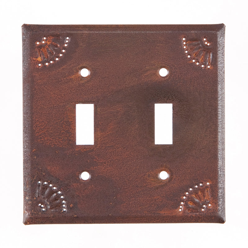 Double Switch Cover with Chisel in Rustic Tin