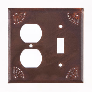 Outlet and Switch Cover with Chisel in Rustic Tin