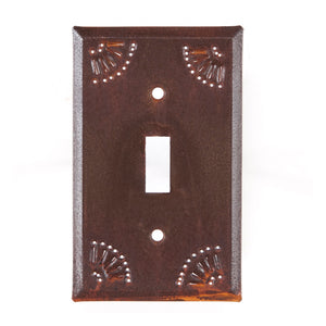 Single Switch Cover with Chisel in Rustic Tin