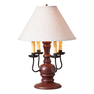 Cedar Creek Lamp in Sturbridge Red with Linen Ivory Shade