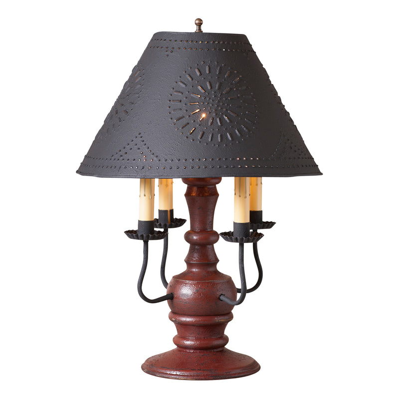Cedar Creek Lamp in Americana Red with Textured Black Tin Shade