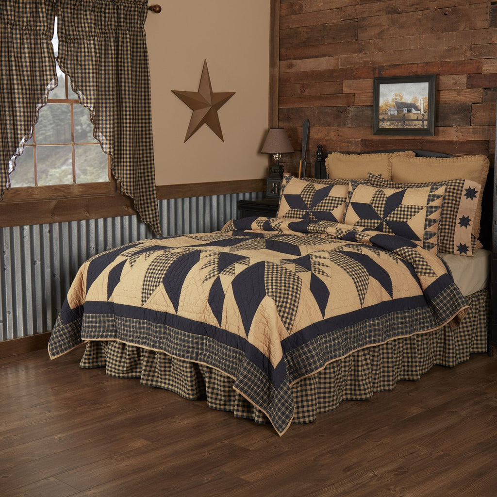 Dakota Star Quilted Collection - black and tan patchwork star motif