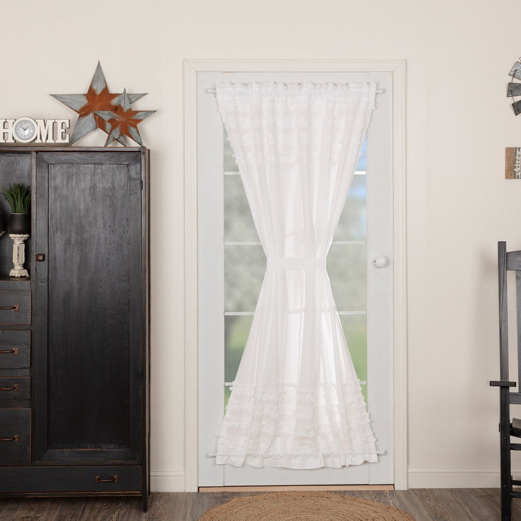 White Ruffled Sheer Petticoat Door Panel 72x40
