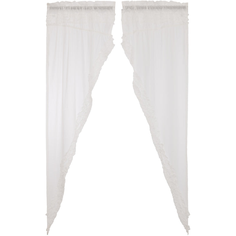 White Ruffled Sheer Petticoat Prairie Long Panel Set of 2 84x36x18