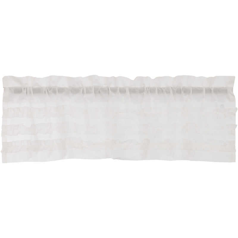 White Ruffled Sheer Petticoat Valance 16x60