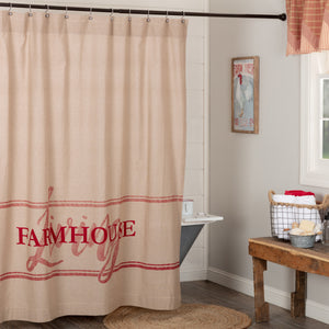 Sawyer Mill Red Farmhouse Living Shower Curtain 72x72 Room Scene