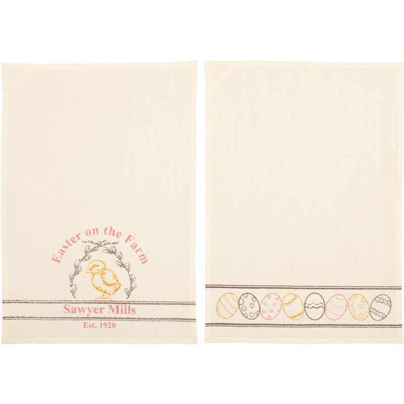 Sawyer Mill Easter on the Farm Chick Unbleached Natural Muslin Tea Towel Set of 2 19x28