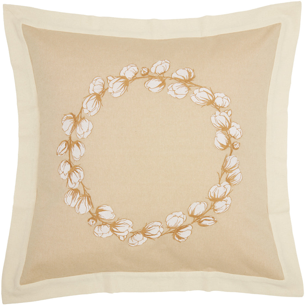 Ashmont Cotton Wreath Fabric Euro Sham Set of 2 26x26
