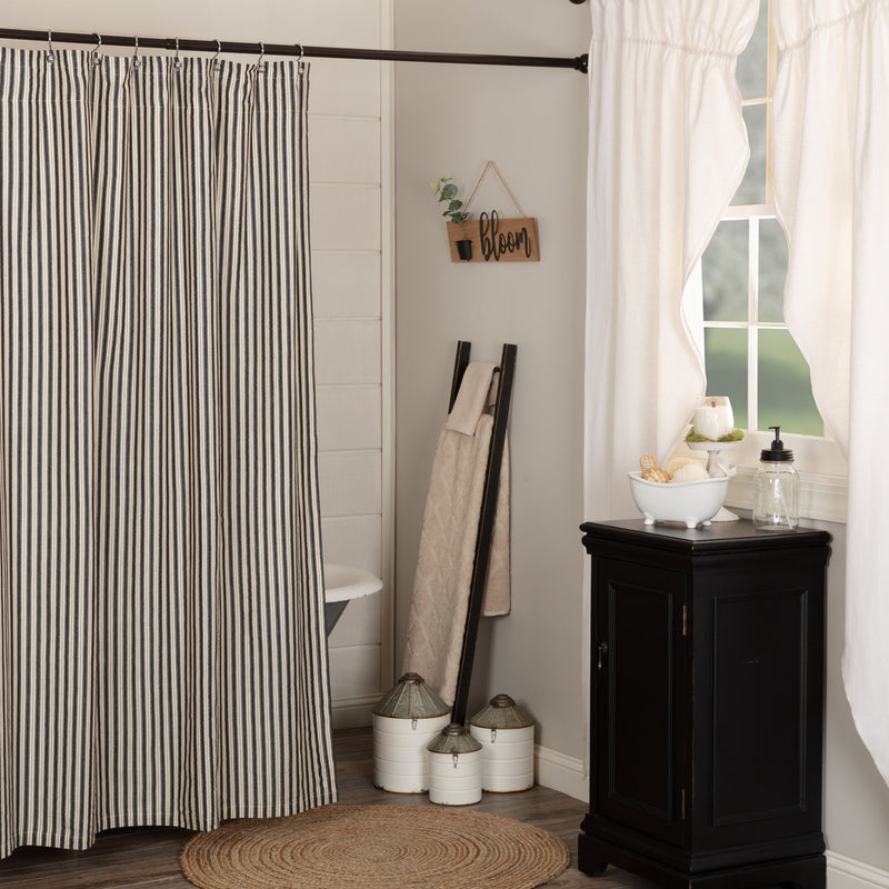 VHC Brands Ashmont Ticking Stripe Shower Curtain 72x72