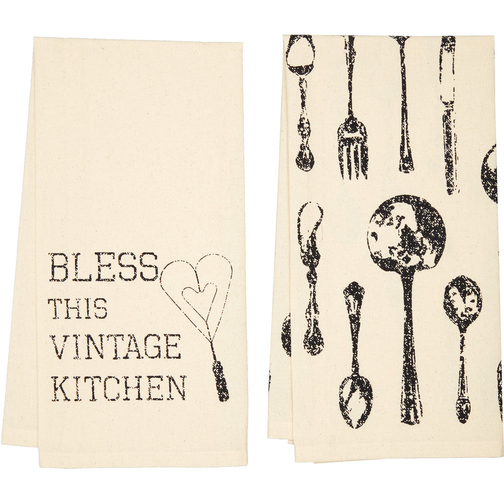 Ashmont Vintage Utensil Muslin Unbleached Tea Towel Set of 2 19x28