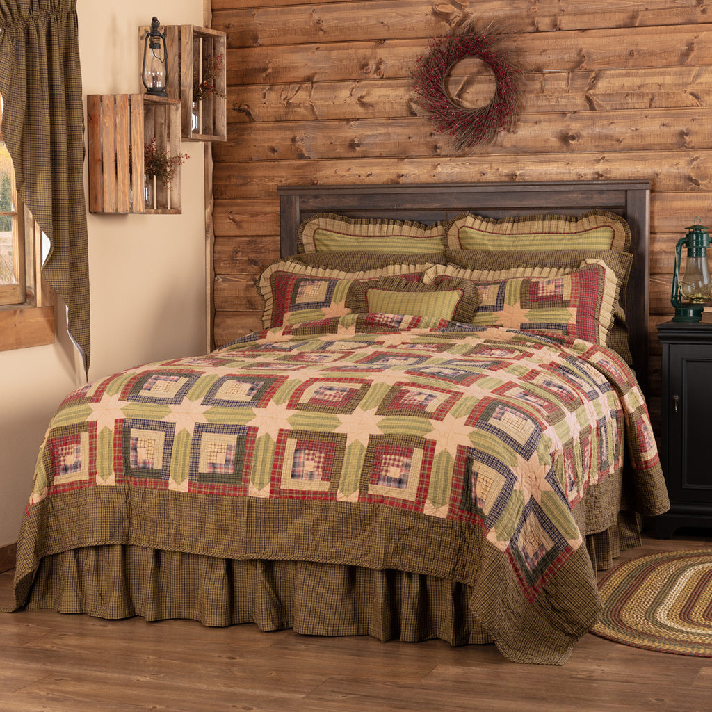 Tea Cabin Quilted Collection - green, red, khaki patchwork