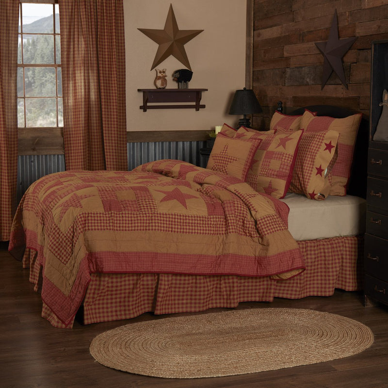 Ninepatch Star Quilted Collection - burgundy tan patchwork star design