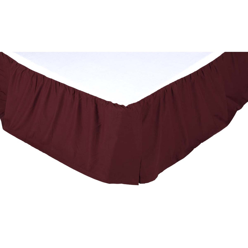 Solid Burgundy King Bed Skirt 78x80x16