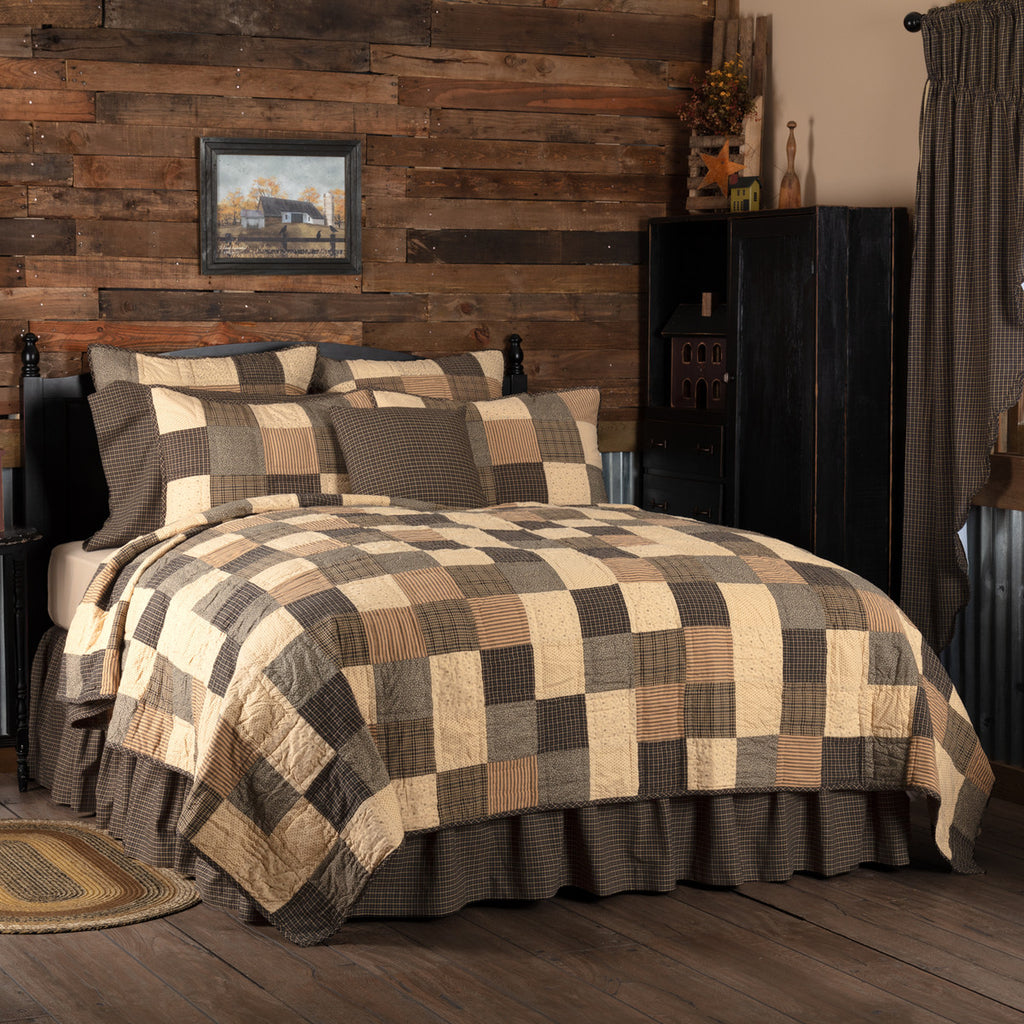Kettle Grove Quilted Collection - black, creme and natural patchwork with stars and crows