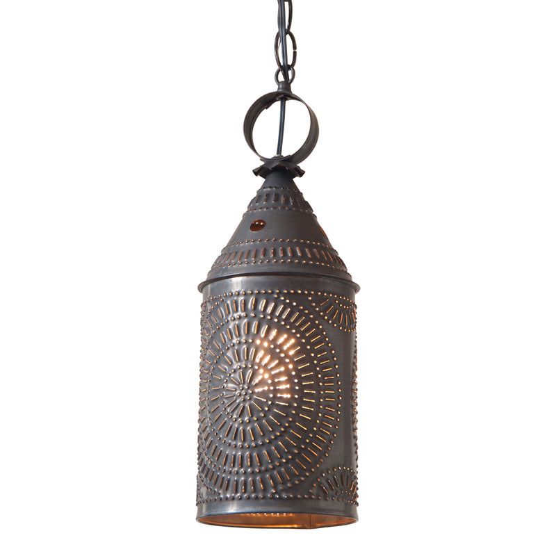 15-Inch Electrified Hanging Lantern in Blackened Tin