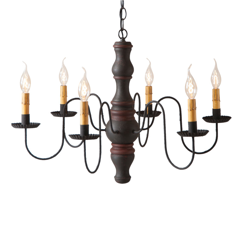Gettysburg Wood Chandelier in Hartford Black with Red Stripe