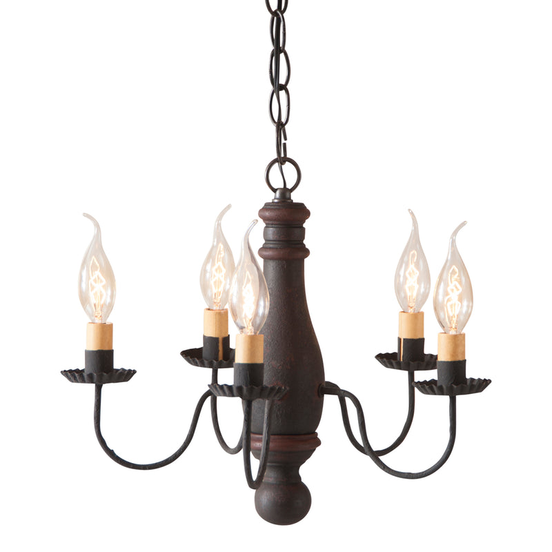 Bed and Breakfast Wood Chandelier in Hartford Black with Red Stripe