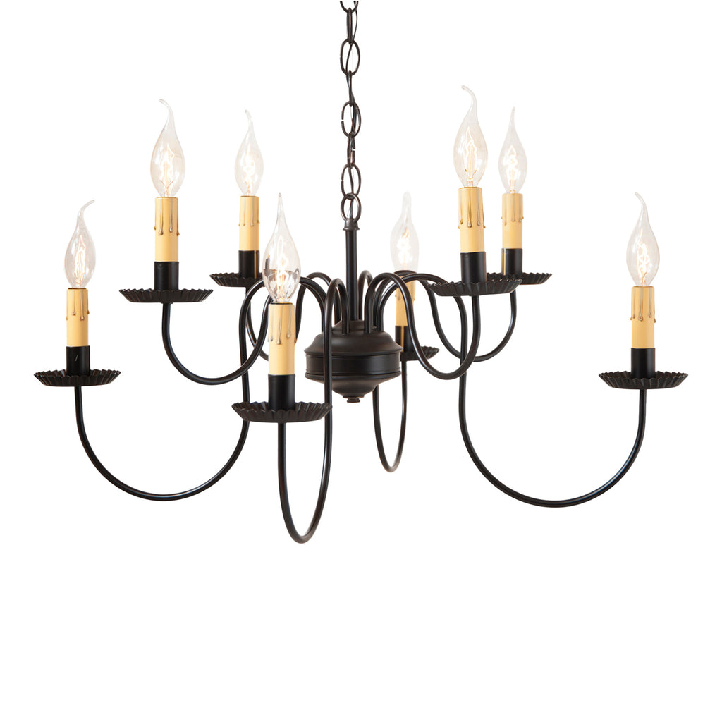 Bloomfield Eight Arm Two Tier Chandelier in Black