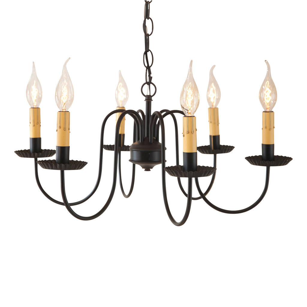 Sheraton Six Arm Chandelier in Black