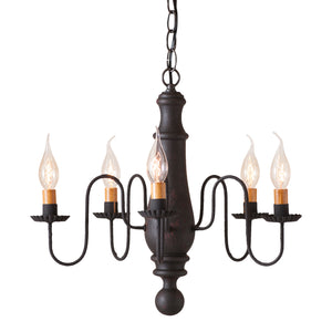 Medium Norfolk Wood Chandelier in Hartford Black over Red