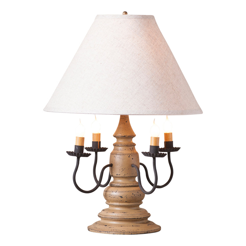 Harrison Lamp in Americana Pearwood with Linen Ivory Shade