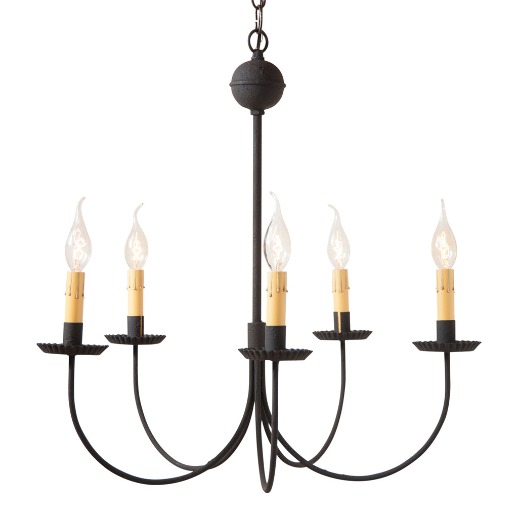 Large 5-Arm Westford Chandelier in Textured Black
