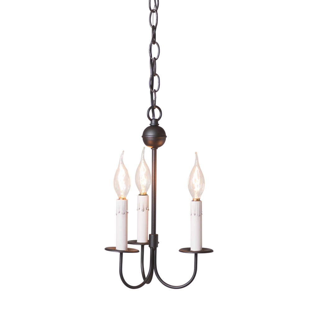 Small 3-Arm Westford Chandelier in Rustic Black