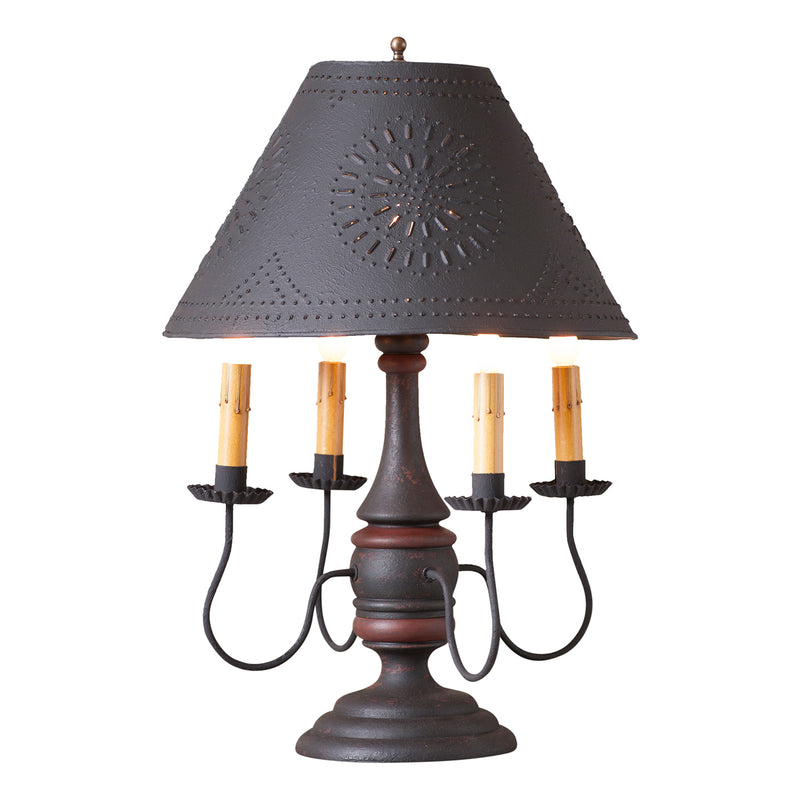 Jamestown Lamp in Hartford Black with Red with Textured Black Tin Shade