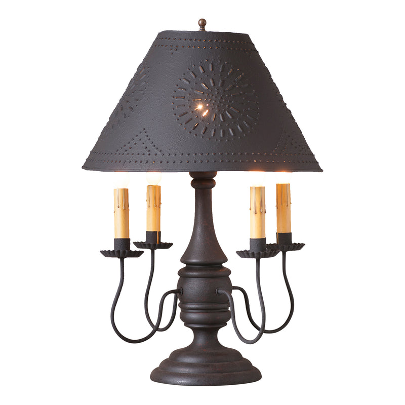 Jamestown Lamp in Hartford Black with Textured Black Tin Shade