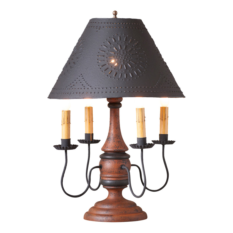 Jamestown Lamp in Hartford Pumpkin with Textured Black Tin Shade