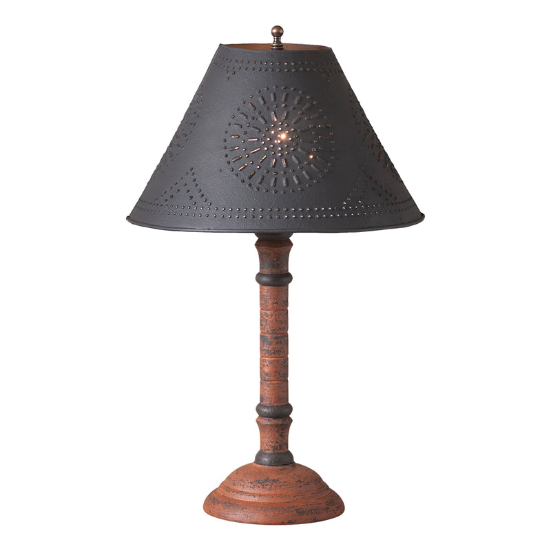 Gatlin Lamp in Hartford Pumpkin with Textured Black Tin Shade