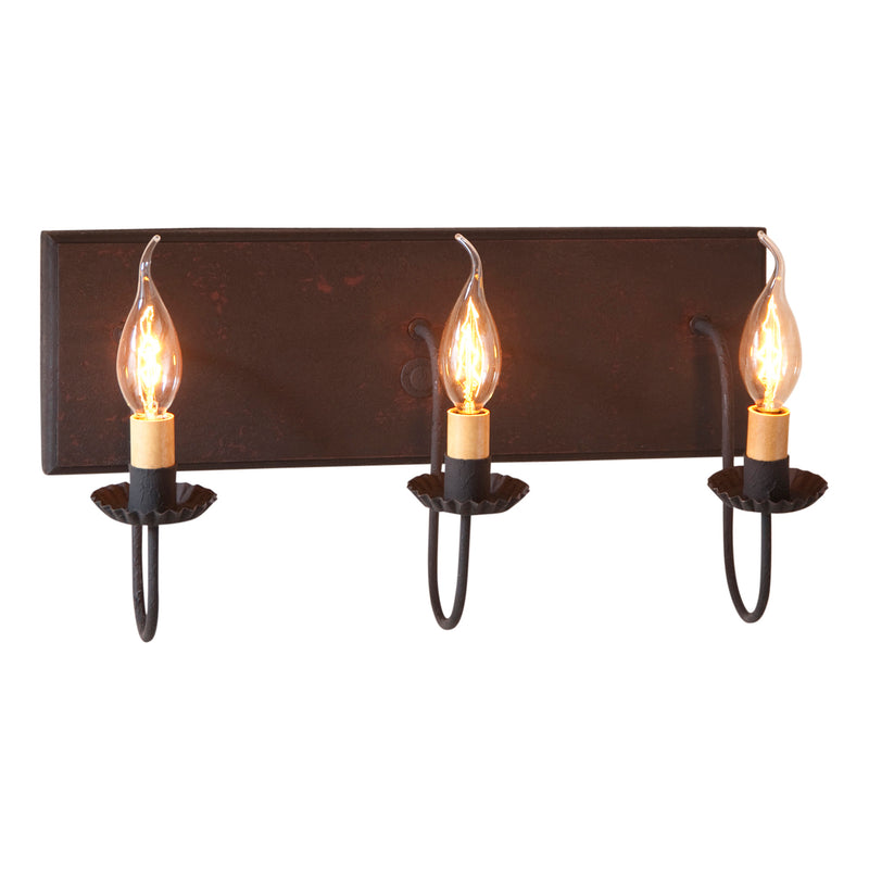 3 Light Vanity Light in Hartford Black over Red