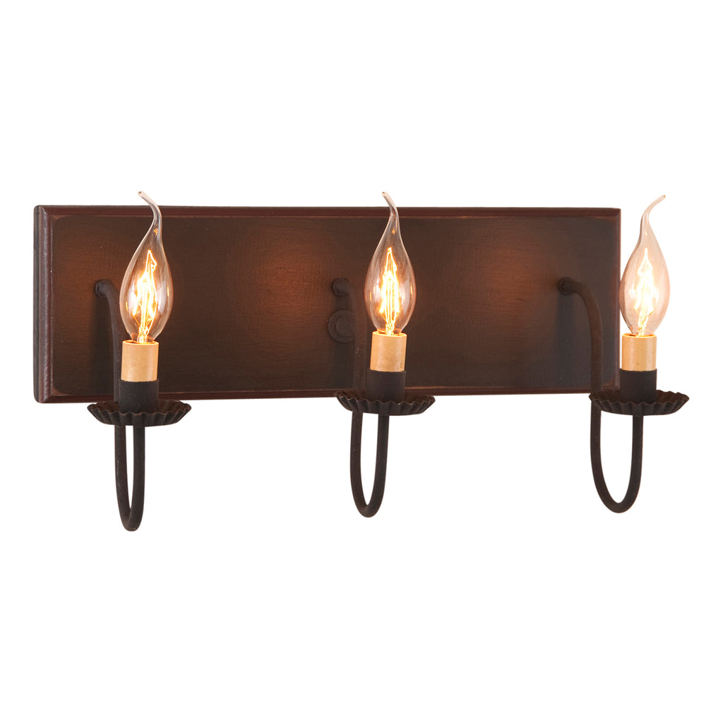 3 Light Vanity Light in Sturbridge Black with Red
