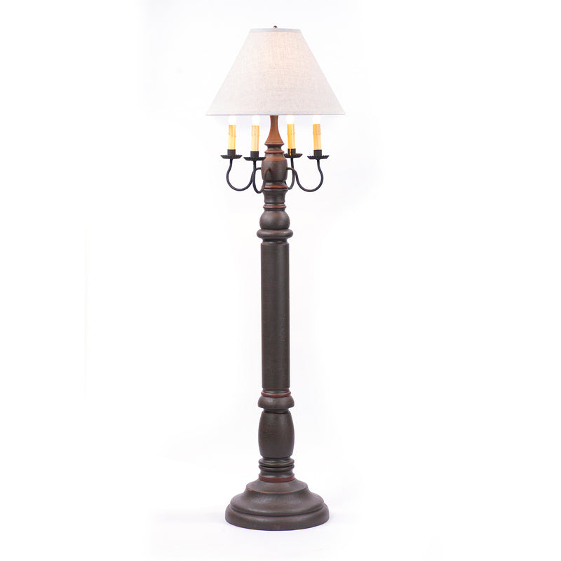 General James Floor Lamp in Espresso with Linen Ivory Shade