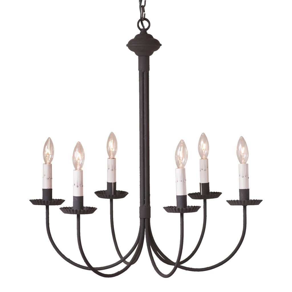6-Arm Grandview Chandelier with Gray Sleeves