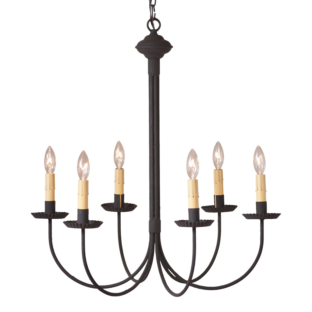 6-Arm Grandview Chandelier with Ecru Sleeves