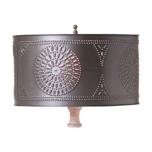 Table Lamp Drum Shade with Chisel in Kettle Black