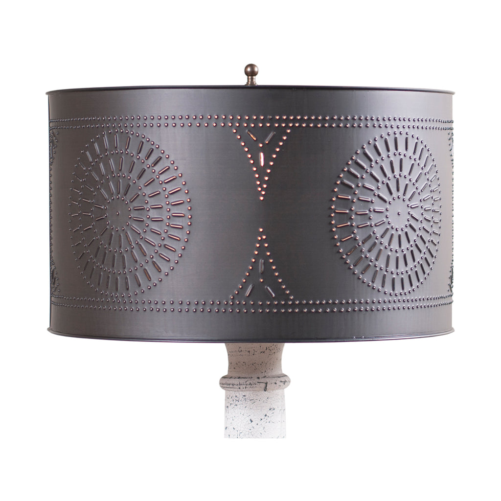 Floor Lamp Drum Shade with Chisel in Kettle Black